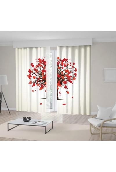 Henge Kırmızı Kalpli Ağaçaşkromantik Dekoratif Fon Perde