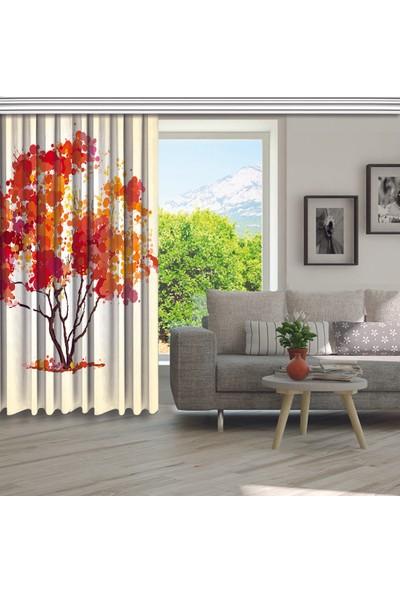 Henge Kırmızısarı Ağaç Sulu Boya Etkilisonbahar Fon Perde