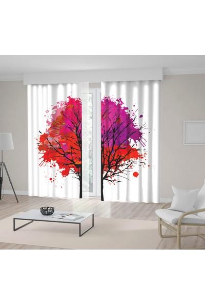 Henge Kırmızıpembe Ağaç Sulu Boya Etkili Fon Perde