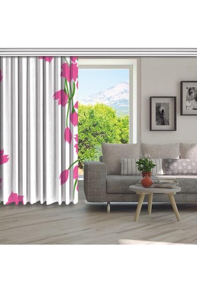 Henge Yağlı Boya Görünümlü Pembe Çiçek Desenli Fon Perde