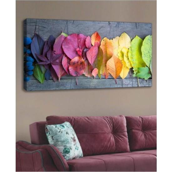 Yoko Kanvas Tablo Renkli Yapraklar Duvar Dekorasyon Moda Tablo 60 x 120 cm