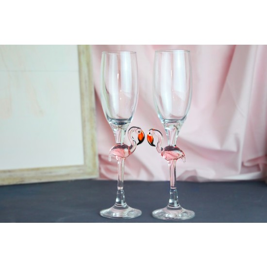 Adamodart Flamingo Cam Figürlü Şampanya Kadeh Seti
