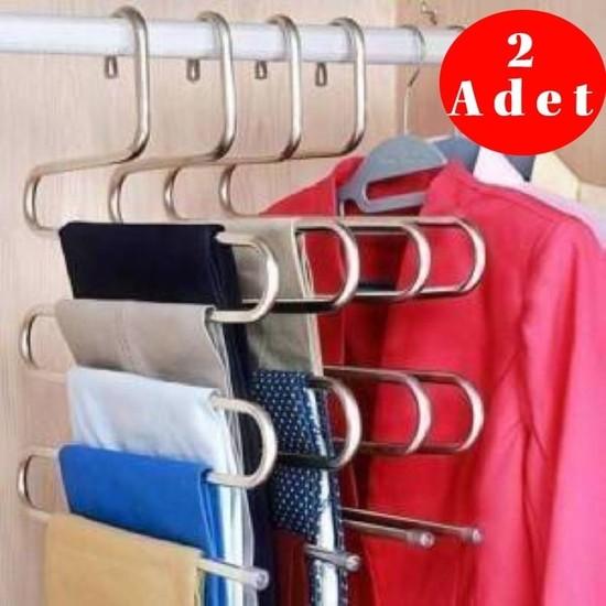 Trendy Shop 5 Katlı Metal Pantolon ve Eşarp Askısı 2 Adet
