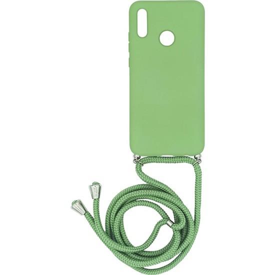 Huawei P Smart 2019 Içi Kadife Boyun Askılı Liquid Silikon Kılıf Yeşil