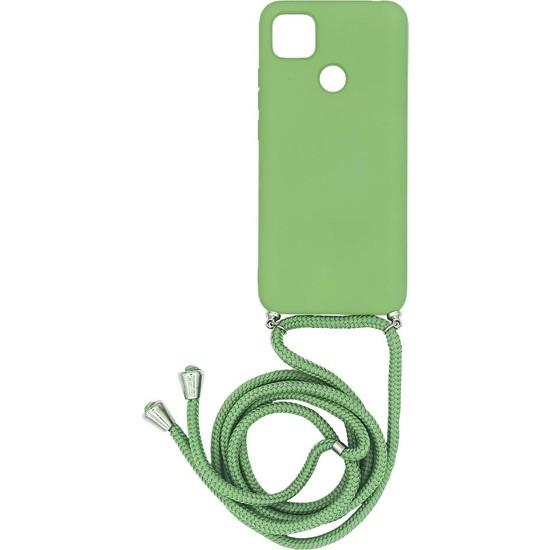 Xiaomi Redmi 9c Içi Kadife Boyun Askılı Liquid Silikon Kılıf Yeşil