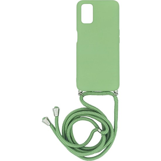 Oppo A72 Içi Kadife Boyun Askılı Liquid Silikon Kılıf Yeşil