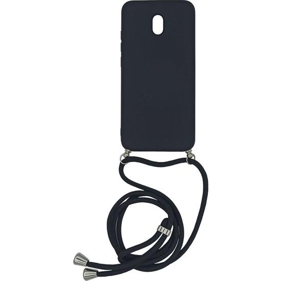 Xiaomi Redmi 8A Içi Kadife Boyun Askılı Liquid Silikon Kılıf Siyah