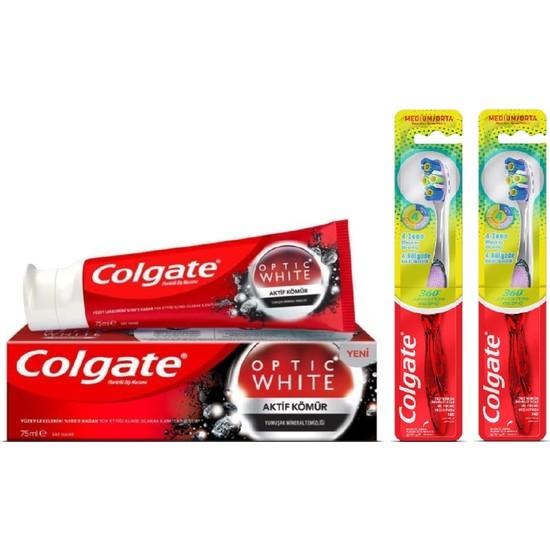Colgate Optic White Aktif Kömür Diş Macunu 50 ml + 2 Adet 360 Gelişmiş 4 Yönlü Diş Fırçası