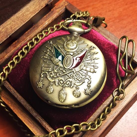 Kuzey Caddesi Kişiye Özel Osmanlı Arma Kapaklı Vintage Köstekli Saat Cep Saati Ahşap Kutusunda