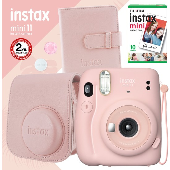 Instax Mini 11 Pembe Fotoğraf Makinesi ve Kare Albümlü Seti 22