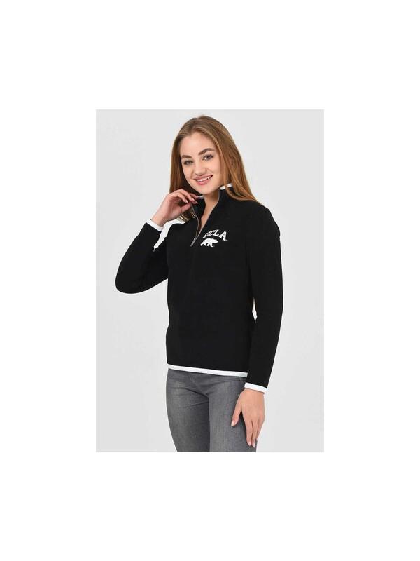Ucla Mırage Siyah Yarım Fermuarlı Baskılı Kadın Sweatshirt