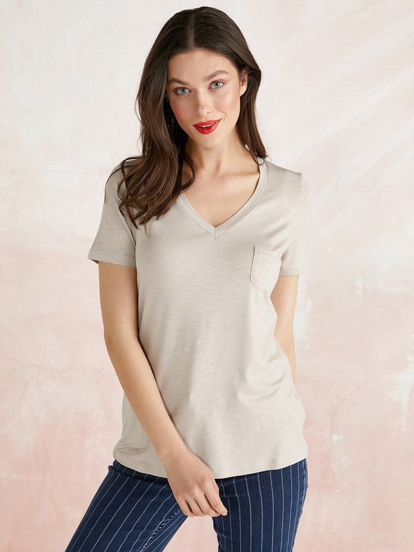 Faik Sönmez V Yaka Kısa Kollu T-Shirt 62015