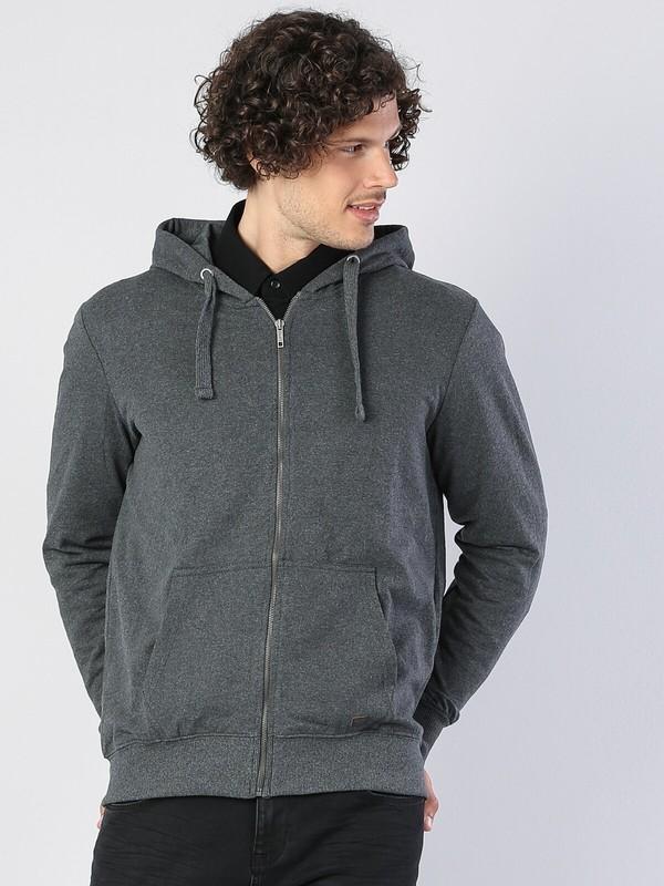 Colins Regular Fit Hooded Erkek Antra Melanj Sweatshirt