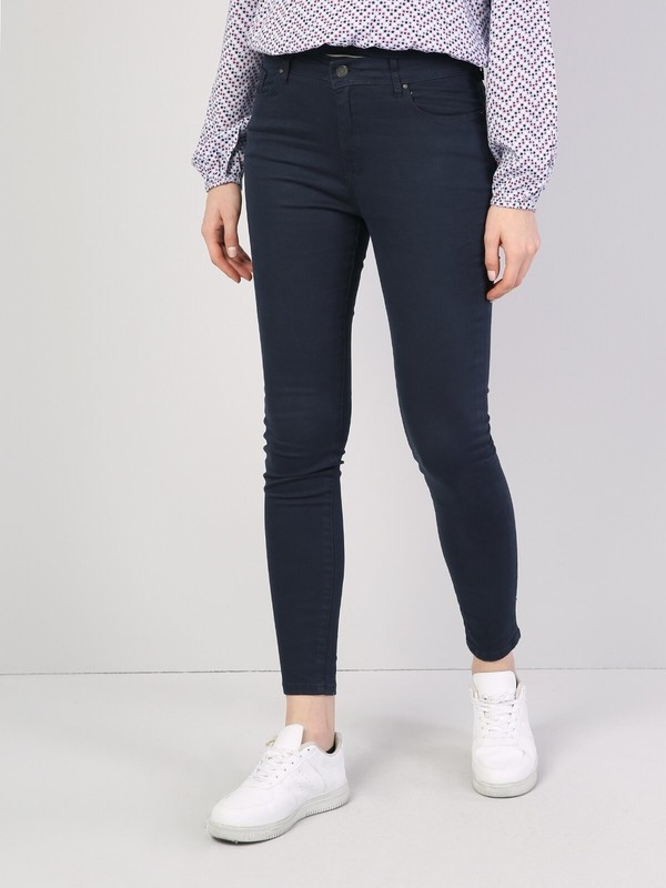 Colins Super Slim Fit Yüksek Bel Skinny Leg Kadın Lacivert Pantolon