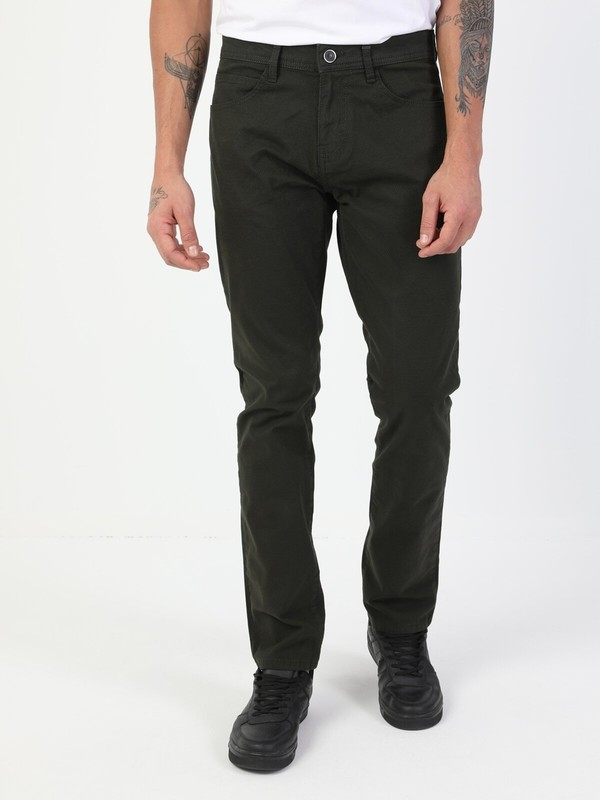 Colin's Düz Paça Normal Bel Yeşil Chino Erkek Pantolon