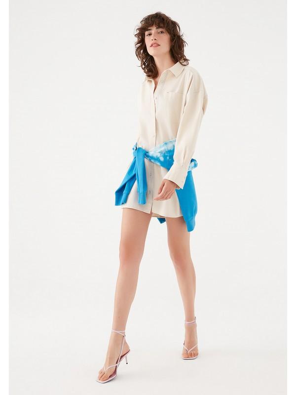 Mavi Kadın Maviterranean Bej Oversize Tunik Elbise 131128-33267