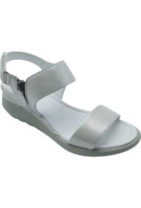 Pandora Moda Dolgu Topuk Beyaz Deri Kadın Ayakkabı