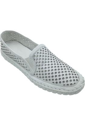 Pandora Moda Baskılı Beyaz Kadın Babet Ayakkabı