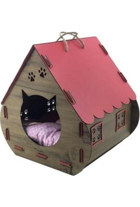 Oyuncakavm Ahşap Dekoratif Minderli Kedi Evi/yatağı Hobbit Model Kırmızı