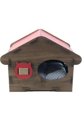 Oyuncakavm Ahşap Dekoratif Minderli Kedi Evi/yatağı/tırmalama Patihouse Model Kırmızı