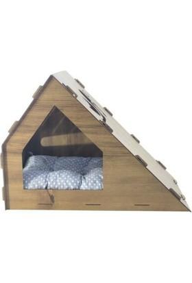 Oyuncakavm Ahşap Dekoratif Minderli Kedi Evi/yatağı Patiköşk Model