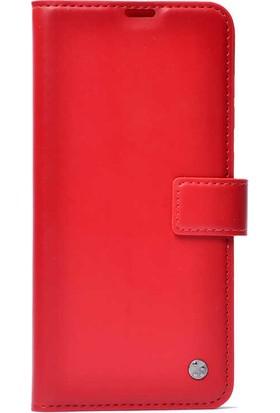 Cupcase Huawei P Smart S (Y8P) Kılıf Kar Deluxe Kapaklı Cüzdan Kılıf Kırmızı