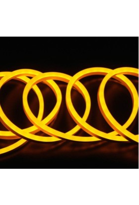 Agb LED Neon Esnek Şerit LED 10 Metre Amber + 220 Volt Fiş Dahil