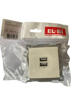 Elbi USB Tlf Şarz Prizi Beyaz 5V 2,1A (Çerçeve Dahil)