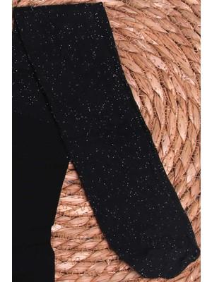 İtaliana Kız Çocuk Külotlu Çorap Simli Siyah (2-13 Yaş)