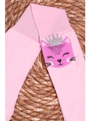 İtaliana Kız Çocuk Külotlu Çorap Kedi Baskılı Simli Pudra (2-13 Yaş)
