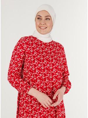 Çiçek Desenli Tunik - Kırmızı - Zenane