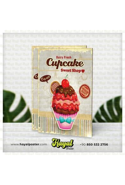 Hayal Poster Cupcake Retro Vintage Ahşap Poster