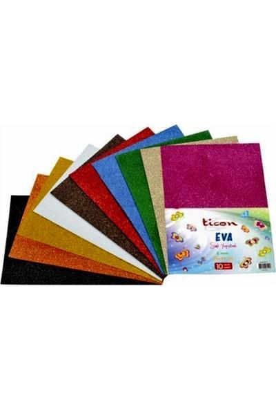 Ticon Simli Yapışkanlı Eva Karışık Renk 20 x 30 cm 10'lu x 10 Paket
