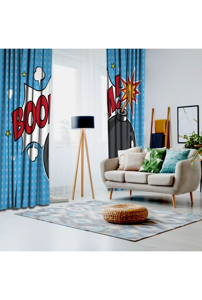 Henge Mavi Pop-Art Sanatı Etkili Bomba Desenli Fon Perde