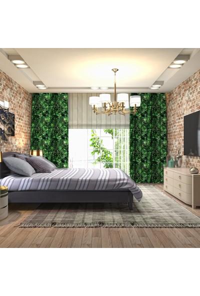 Henge Yeşil Siyah Stilize Yaprak Doğa Desenli Fon Perde
