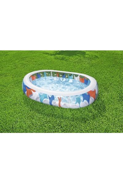 Bestway Eliptik, Elips Renkli Şişme Aile Havuzu Mega Büyük Boy 229X152X51 cm - 54066