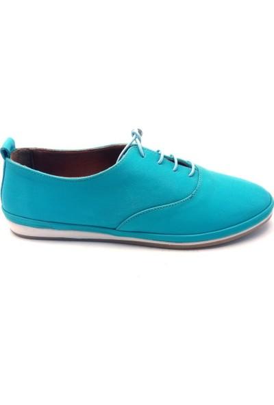 Pandora Moda Mavi Deri Kadın Babet Ayakkabı