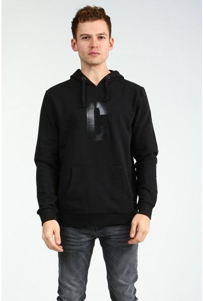 Collezione Siyah Kapişonlu Önü Baskılı Cepli Uzun Kollu Erkek Sweatshirt