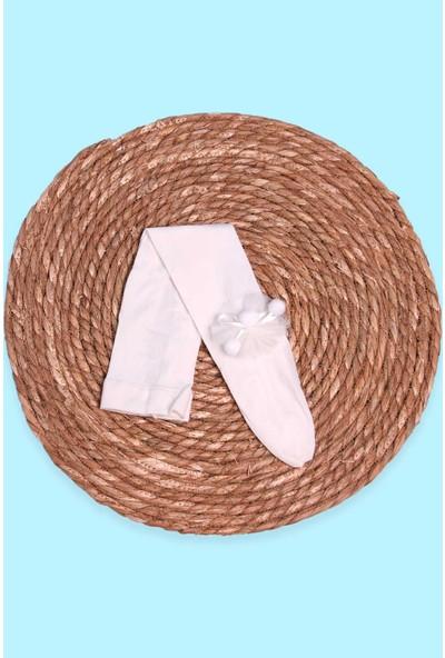 İtaliana Kız Çocuk Külotlu Çorap Ponponlu Ekru (2-13 Yaş)