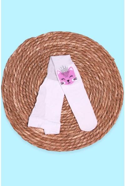 İtaliana Kız Çocuk Külotlu Çorap Kedi Baskılı Simli Beyaz (2-13 Yaş)