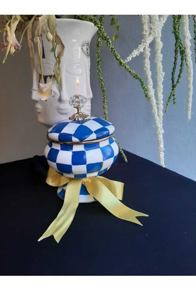Ukyco Consept Ukyco Mavi Dama Desen El Boyaması Şekerlik