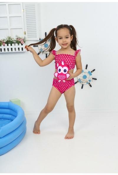 Kız Çocuk Mayokini Sevimli Baykuş Temalı Fuşya Kol Fırfırlı - Son Sezon Kostüm Mayo