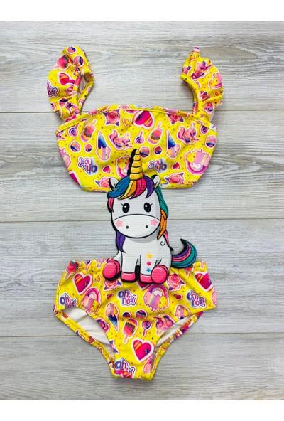 Kız Çocuk Sevimli Unicorn Figürlü Mayokini - Mayo - Kostüm