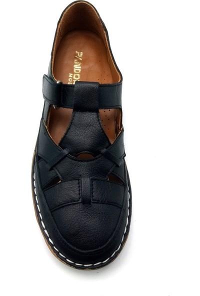 Pandora Moda Siyah Kadın Deri Babet Ayakkabı