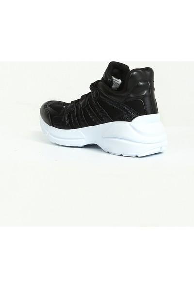 Siyah Bağcıklı Kalın Taban Kadın Sneaker
