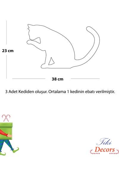 Tikidecors Ahşap Dekoratif Modern Kediler Duvar Süsü Duvar Dekoru 3 Adet
