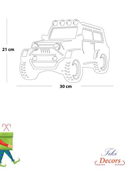 Tikidecors Ahşap Dekoratif Modern Jeep Duvar Süsü Duvar Dekoru