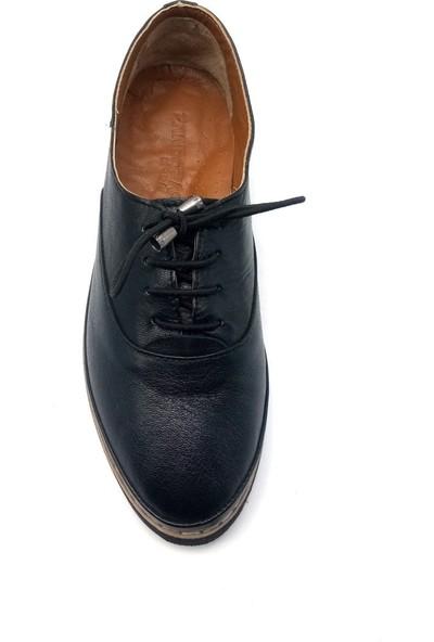 Pandora Moda Eva Tabanlı Siyah Deri Kadın Babet Ayakkabı