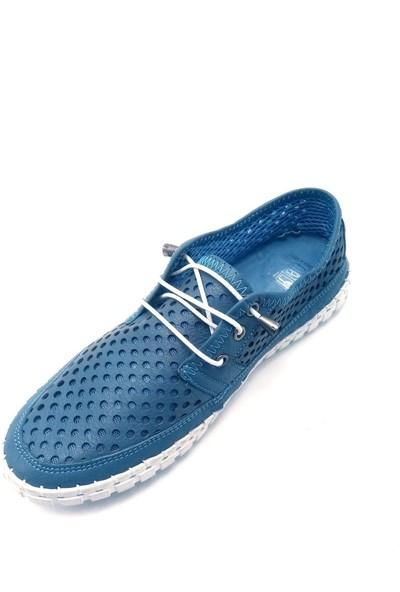 Pandora Moda Baskılı Mavi Kadın Babet Ayakkabı