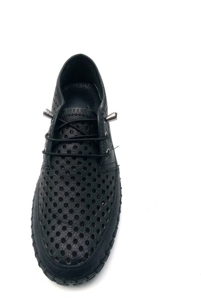 Pandora Moda Baskılı Siyah Kadın Babet Ayakkabı